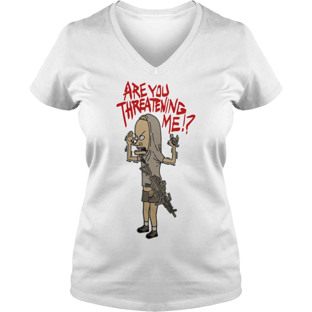Beavis are you threatening me V-neck T-shirt