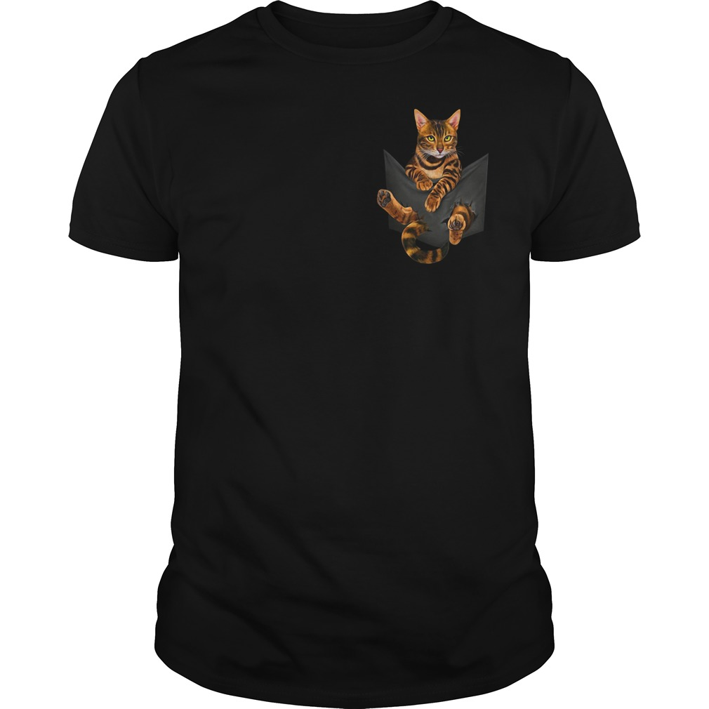Bengal cat in a pocket Guys Shirt