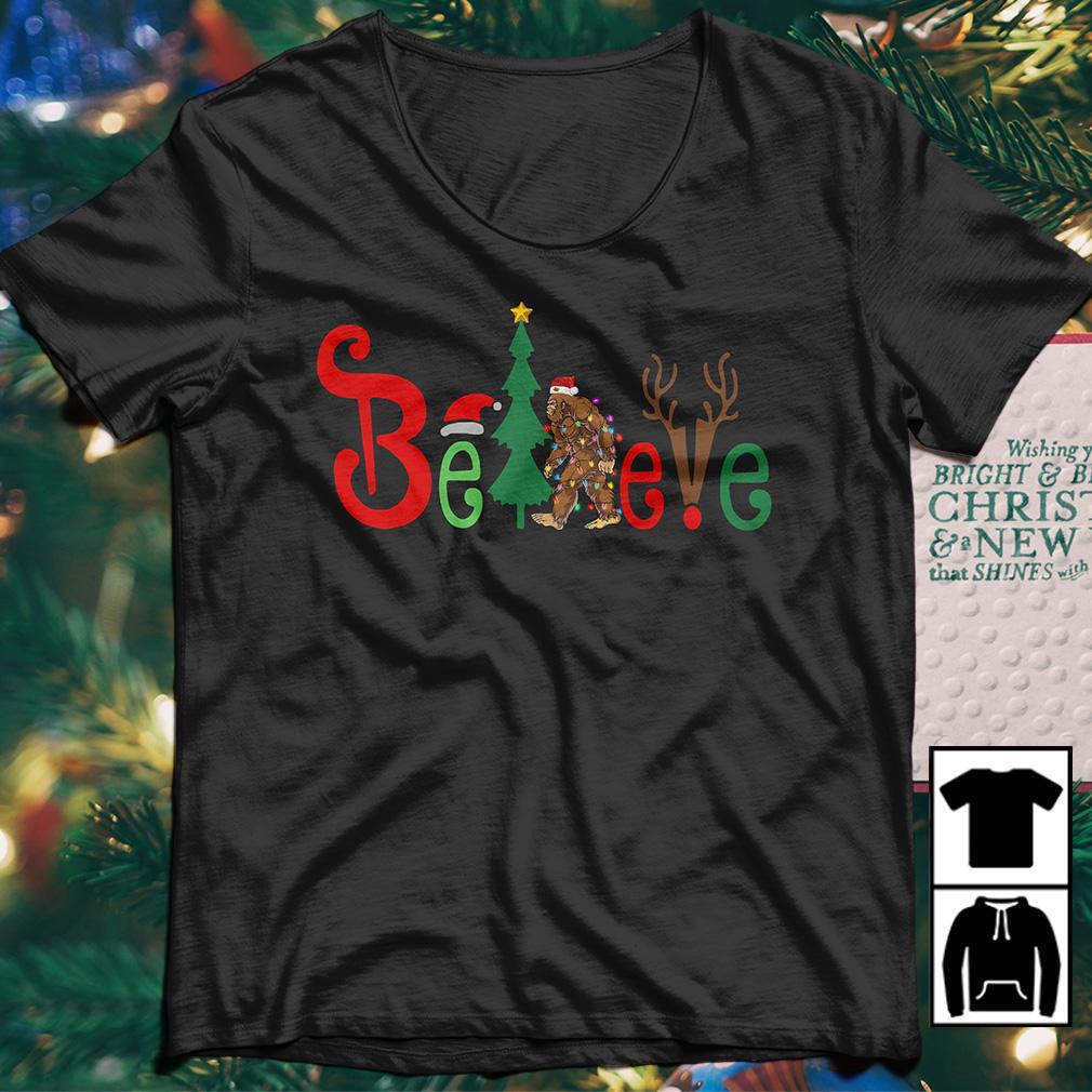 cd842ce663 Bigfoot Santa light believe Christmas sweater