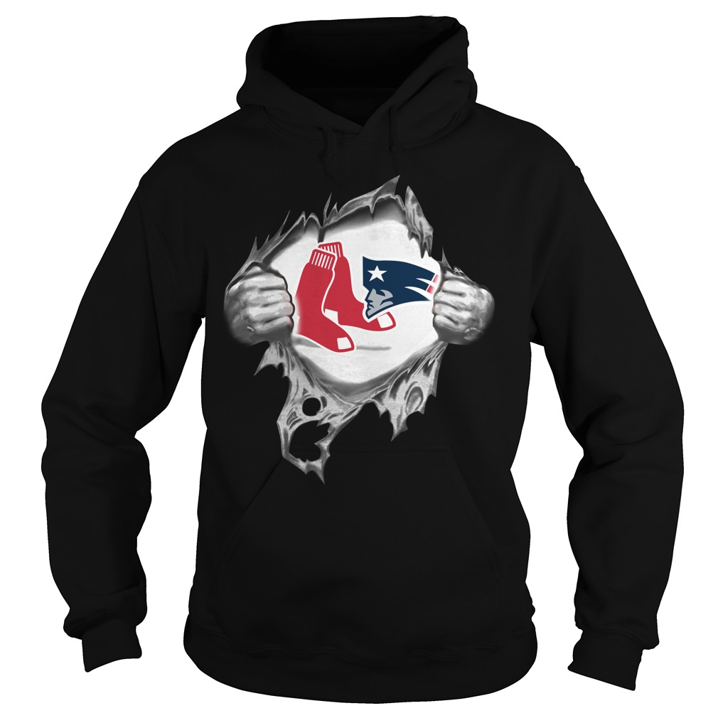 Boston Red Sox and New England Patriots blood inside me Hoodie