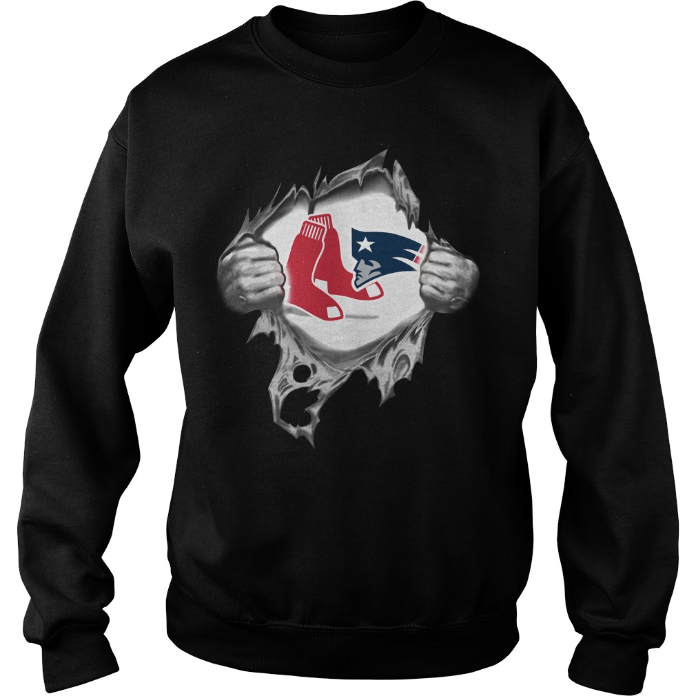 Boston Red Sox and New England Patriots blood inside me Sweater