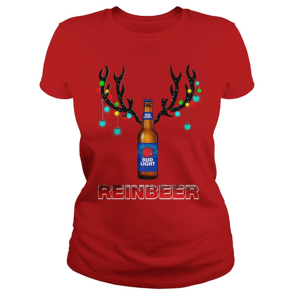 Bud Light Reinbeer Christmas Ugly Ladies Tee