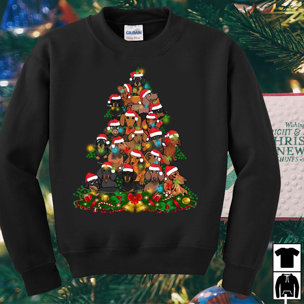 Dachshunds Santa Christmas tree sweater