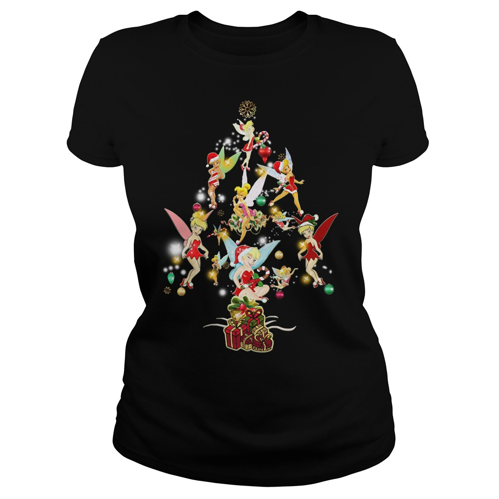 Disney Tinkerbell Christmas Tree Ladies Tee