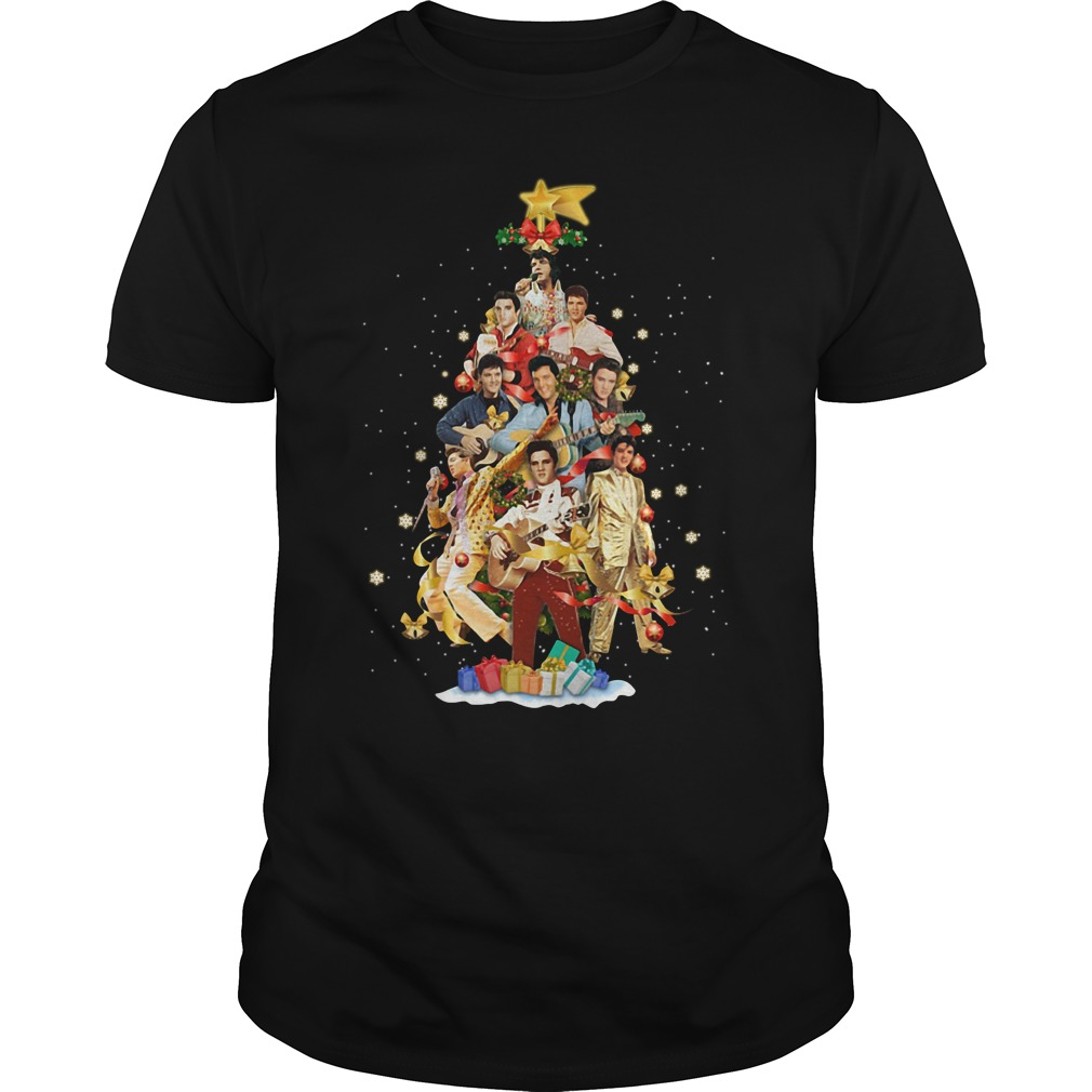Elvis Presley Christmas tree Guys shirt