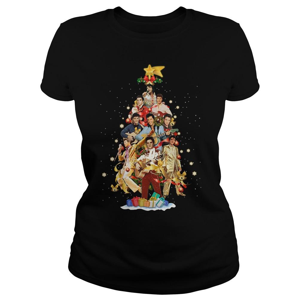 Elvis Presley Christmas tree Ladies tee
