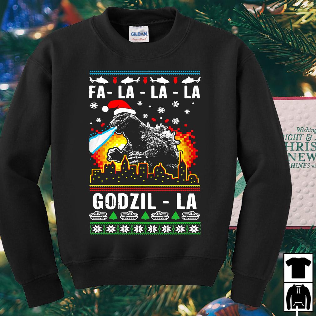 Fa La La La Godzilla ugly Christmas sweater