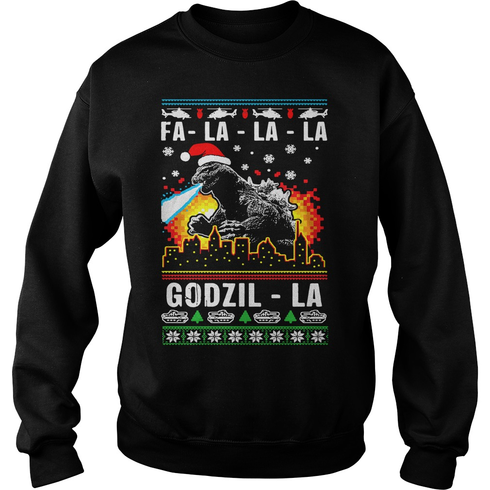 Fa La La La Godzilla ugly Christmas Sweater