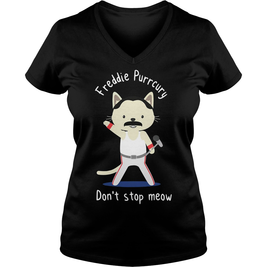 Freddie Purrcury don't stop meow V-neck T-shirt