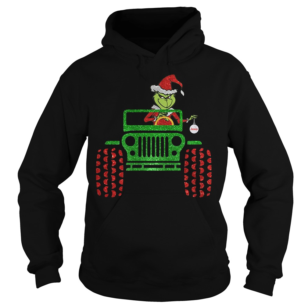 The Grinch driver Jeep car Christmas Hoodie