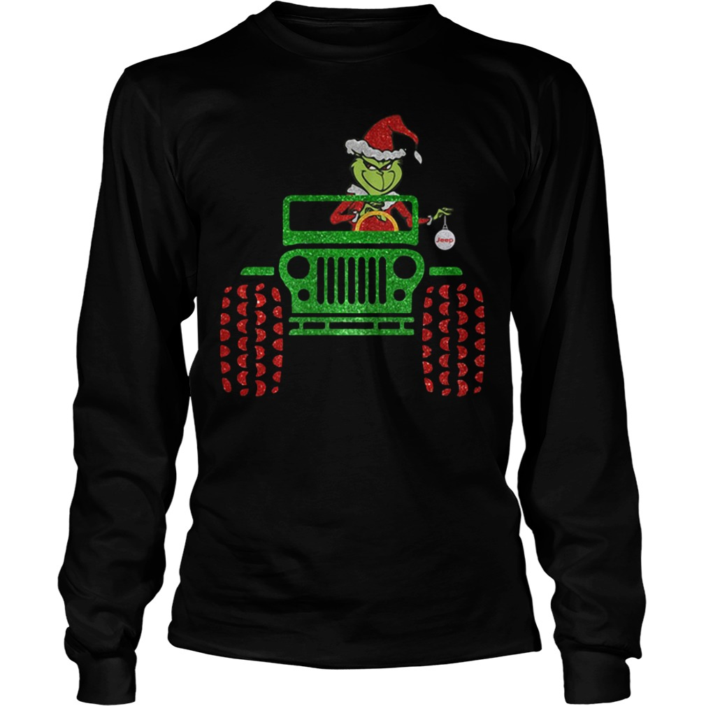 The Grinch driver Jeep car Christmas Longsleeve tee