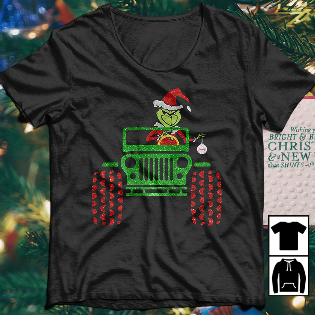 The Grinch driving Jeep car Christmas sweater