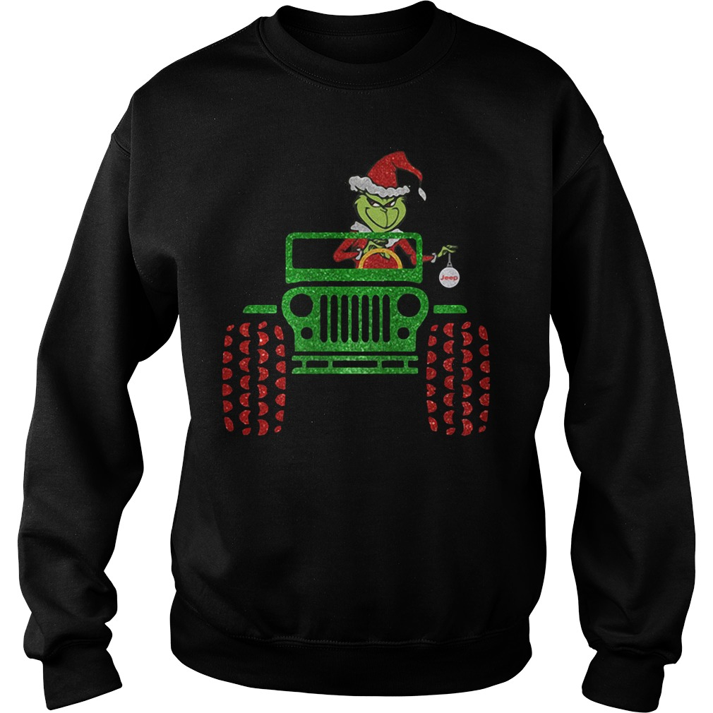 The Grinch driver Jeep car Christmas Sweater