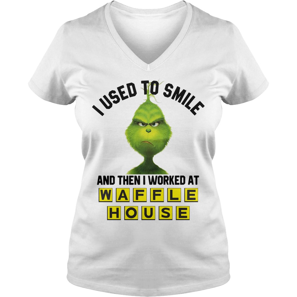 Grinch I used to smile and then I worked at Waffle House V-neck T-shirt