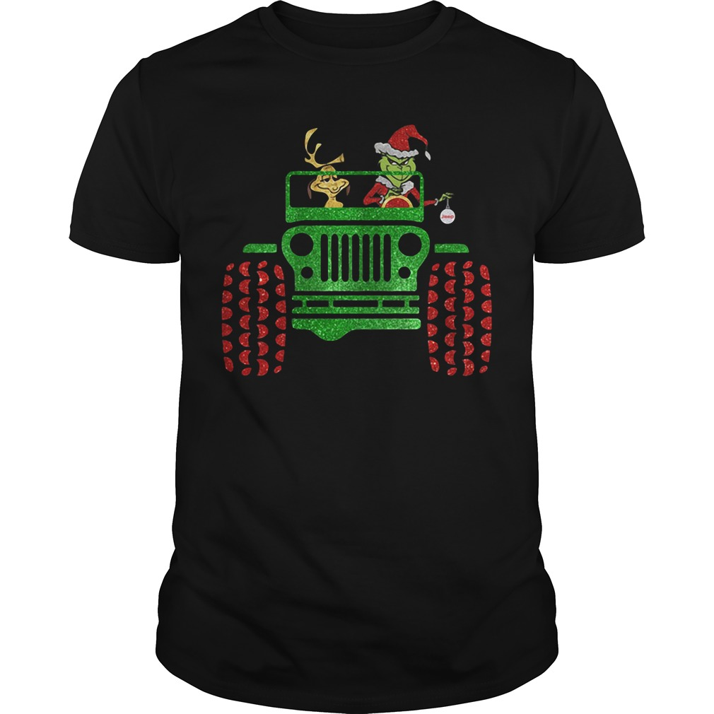 Grinch and Max driving Jeep Christmas Guys Shirt
