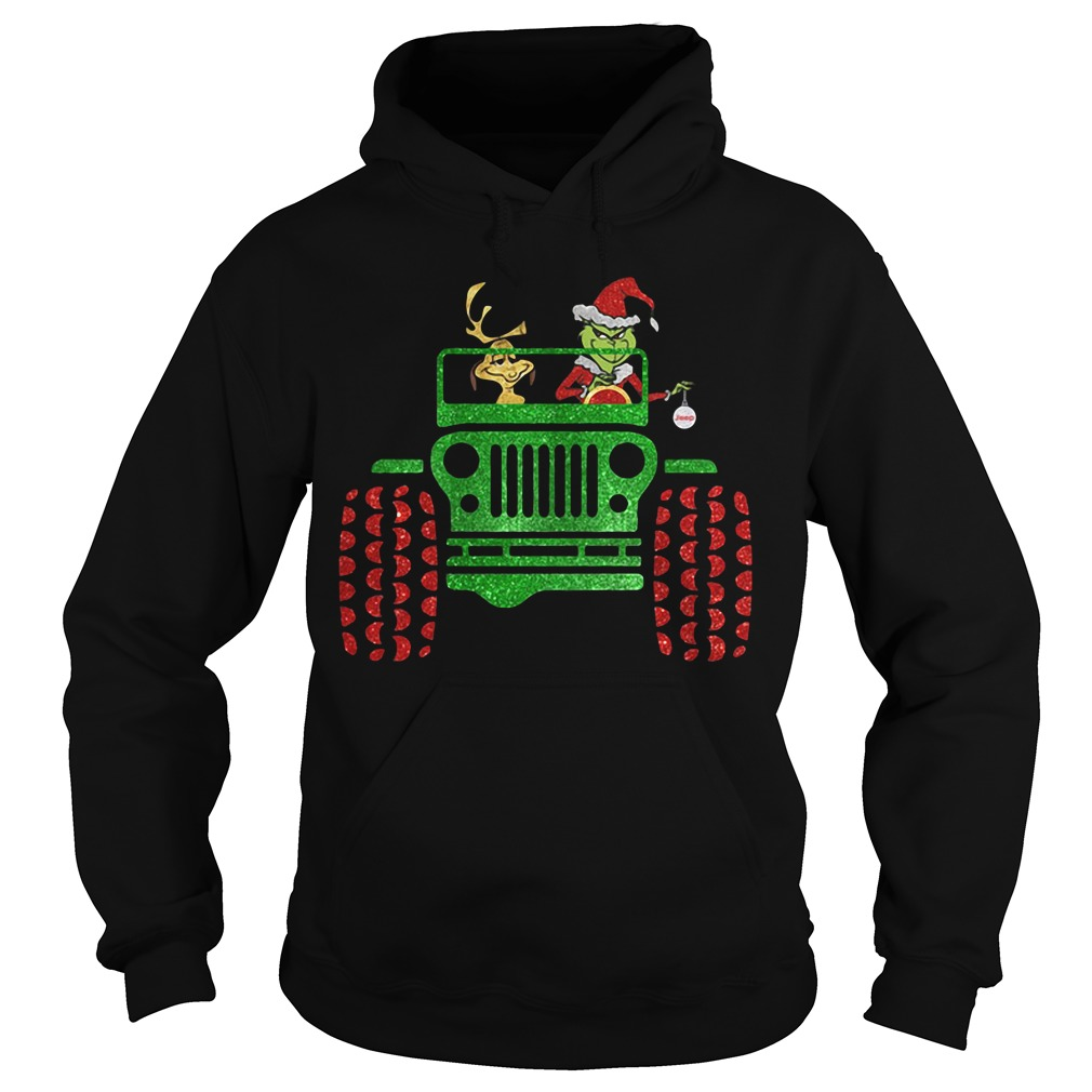 Grinch and Max driving Jeep Christmas Hoodie