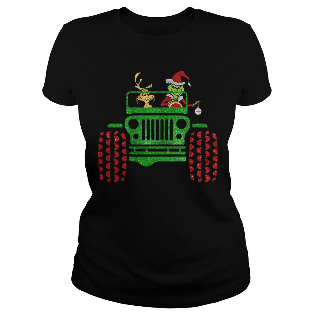 Grinch and Max driving Jeep Christmas Ladies tee