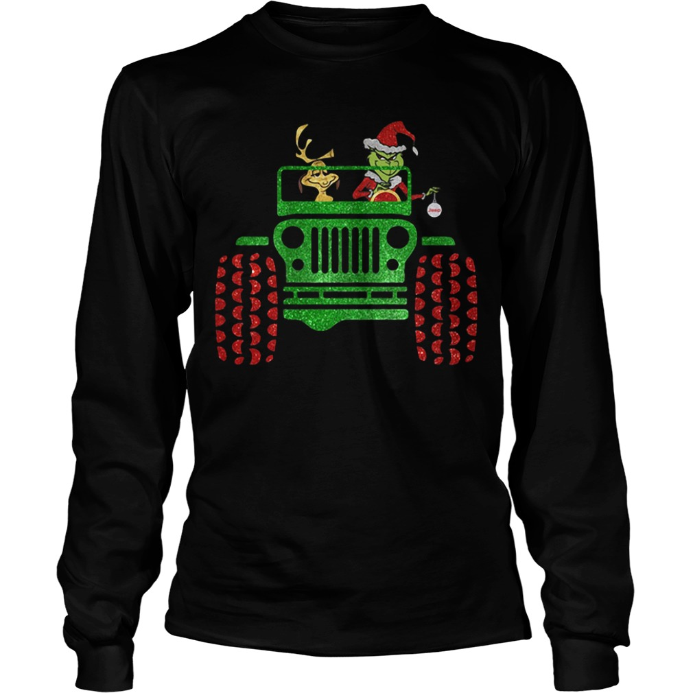 Grinch and Max driving Jeep Christmas Longsleeve Tee