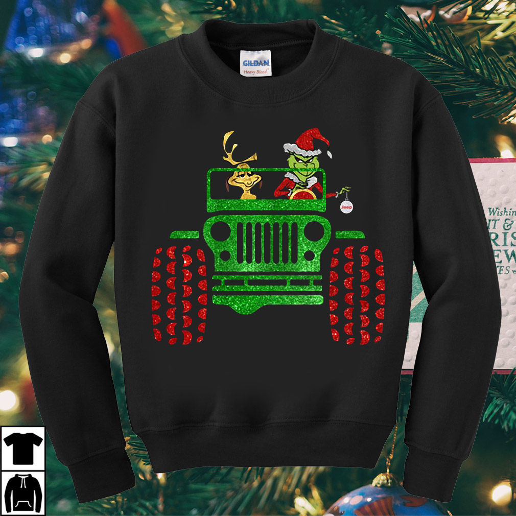 Grinch and Max driving Jeep Christmas sweater