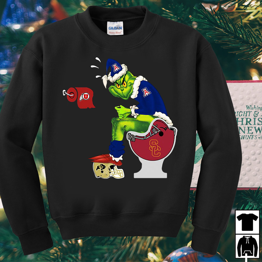 Grinch Santa Arizona Wildcats toilet Christmas sweater