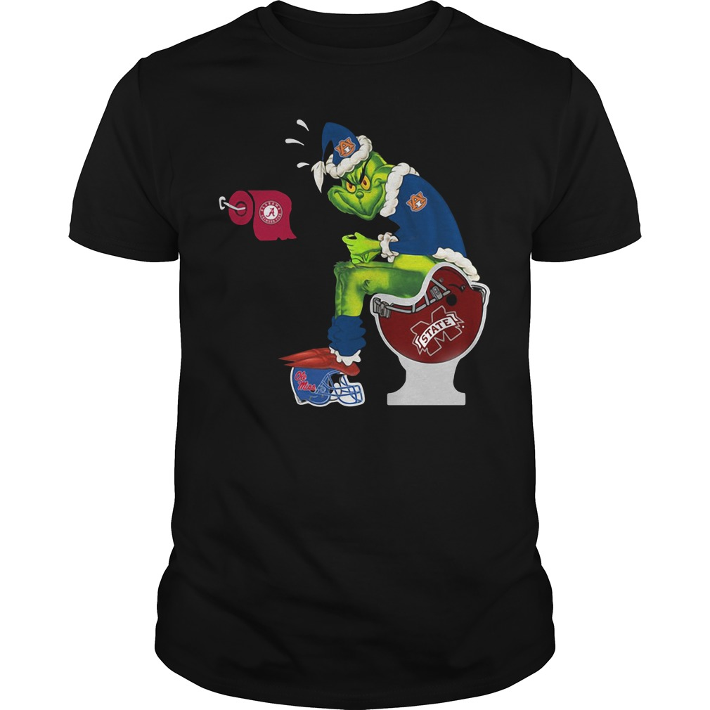 Grinch Santa Auburn Tigers toilet Christmas Guys Shirt