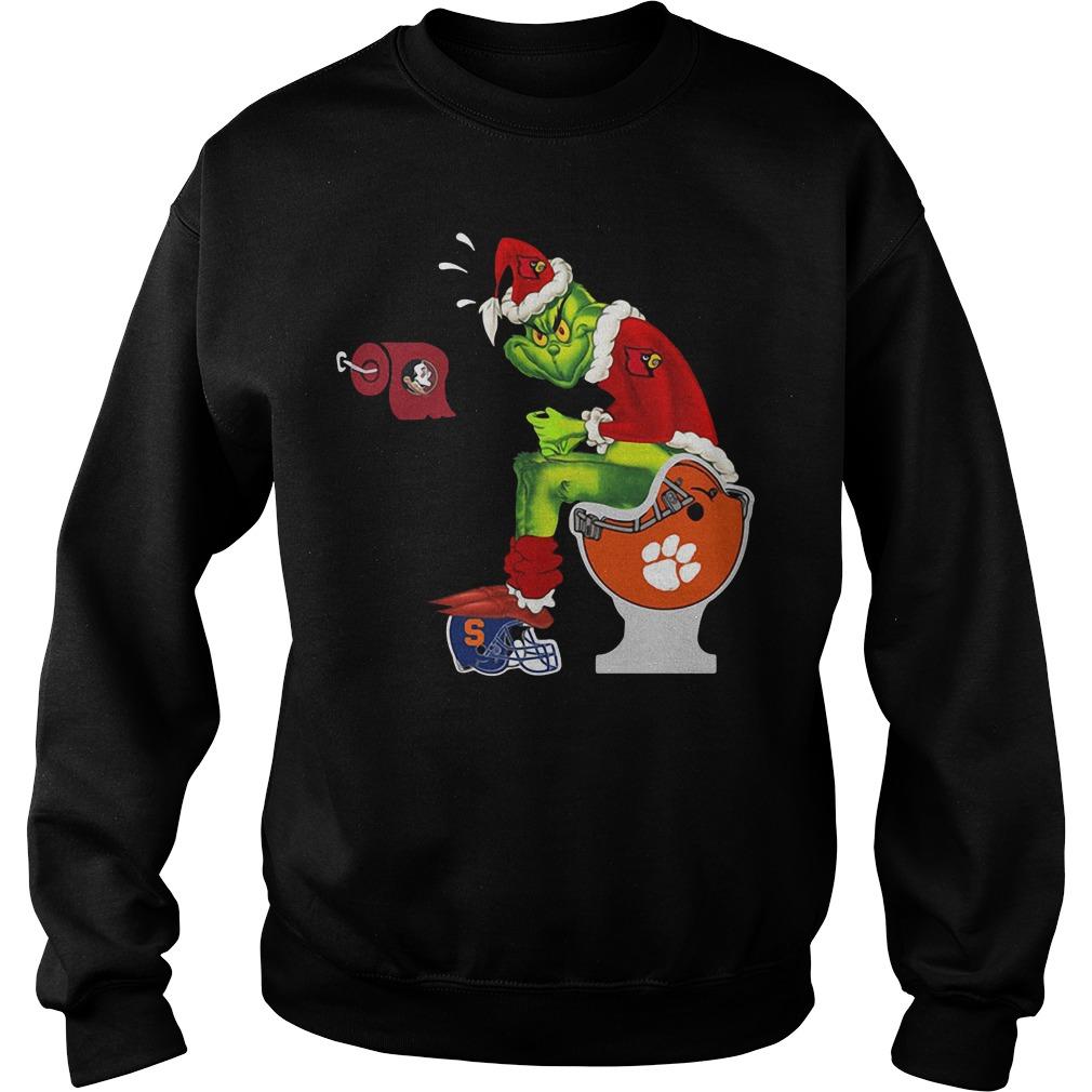 Grinch Santa Louisville Cardinals toilet Christmas Sweater