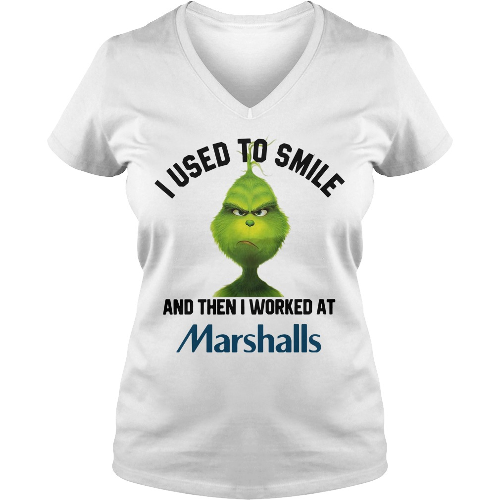 Grinch I used to smile and then I worked at Marshalls V-neck T-shirt