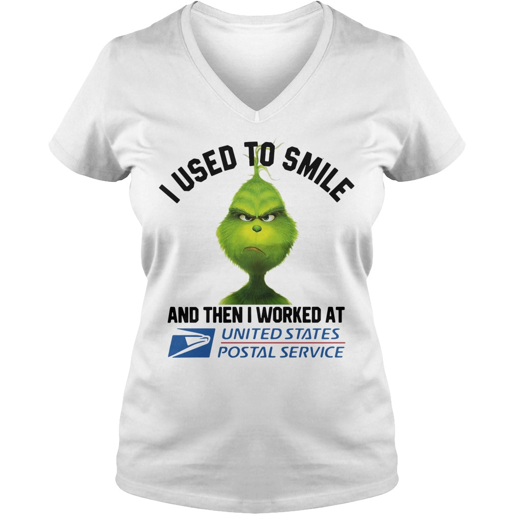 Grinch I used to smile then I worked at United States Postal Service V-neck T-shirt