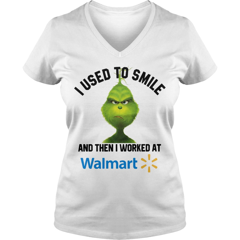 Grinch I used to smile and then I worked at Walmart V-neck T-shirt
