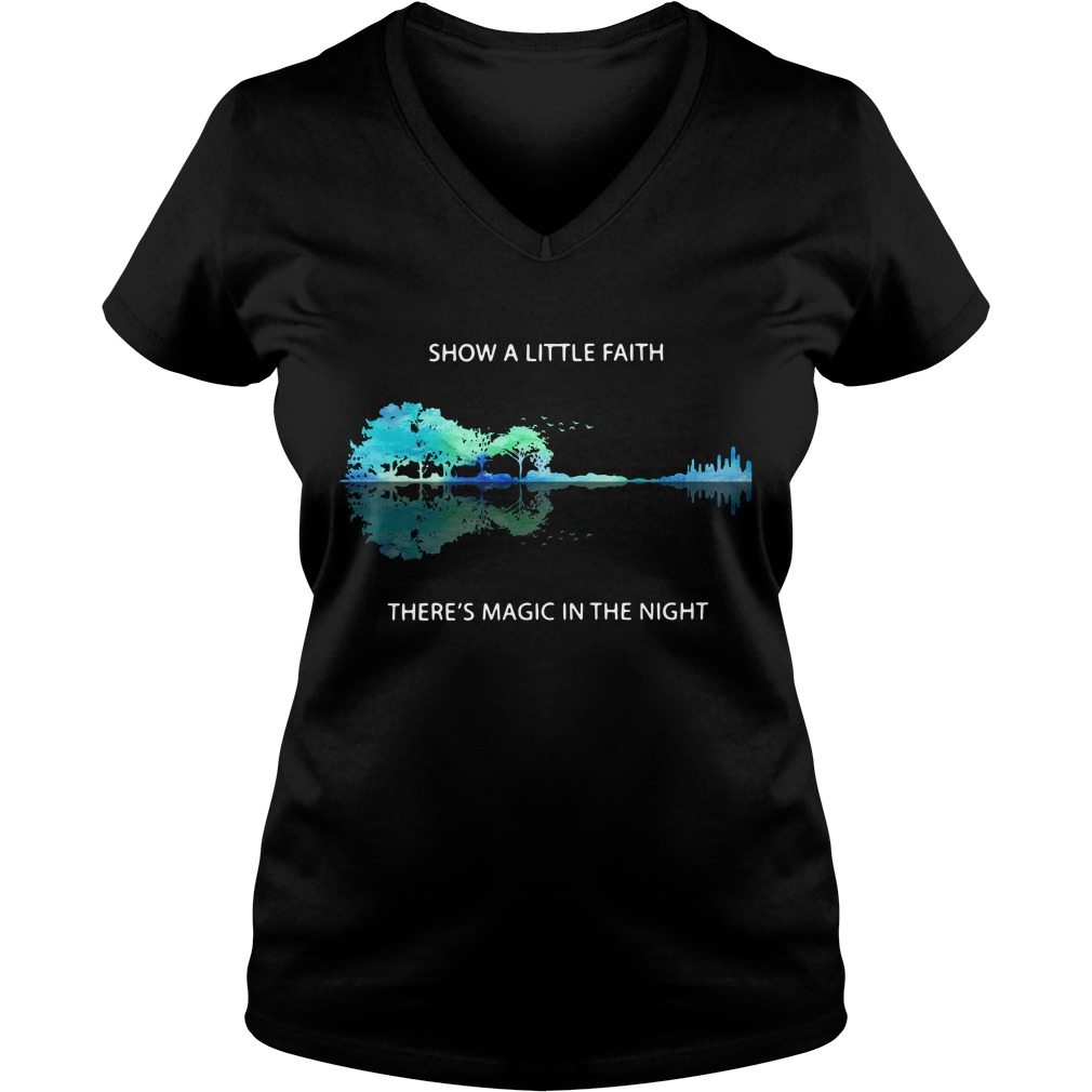Guitar natural show a little faith there's magic in the night V-neck T-shirt