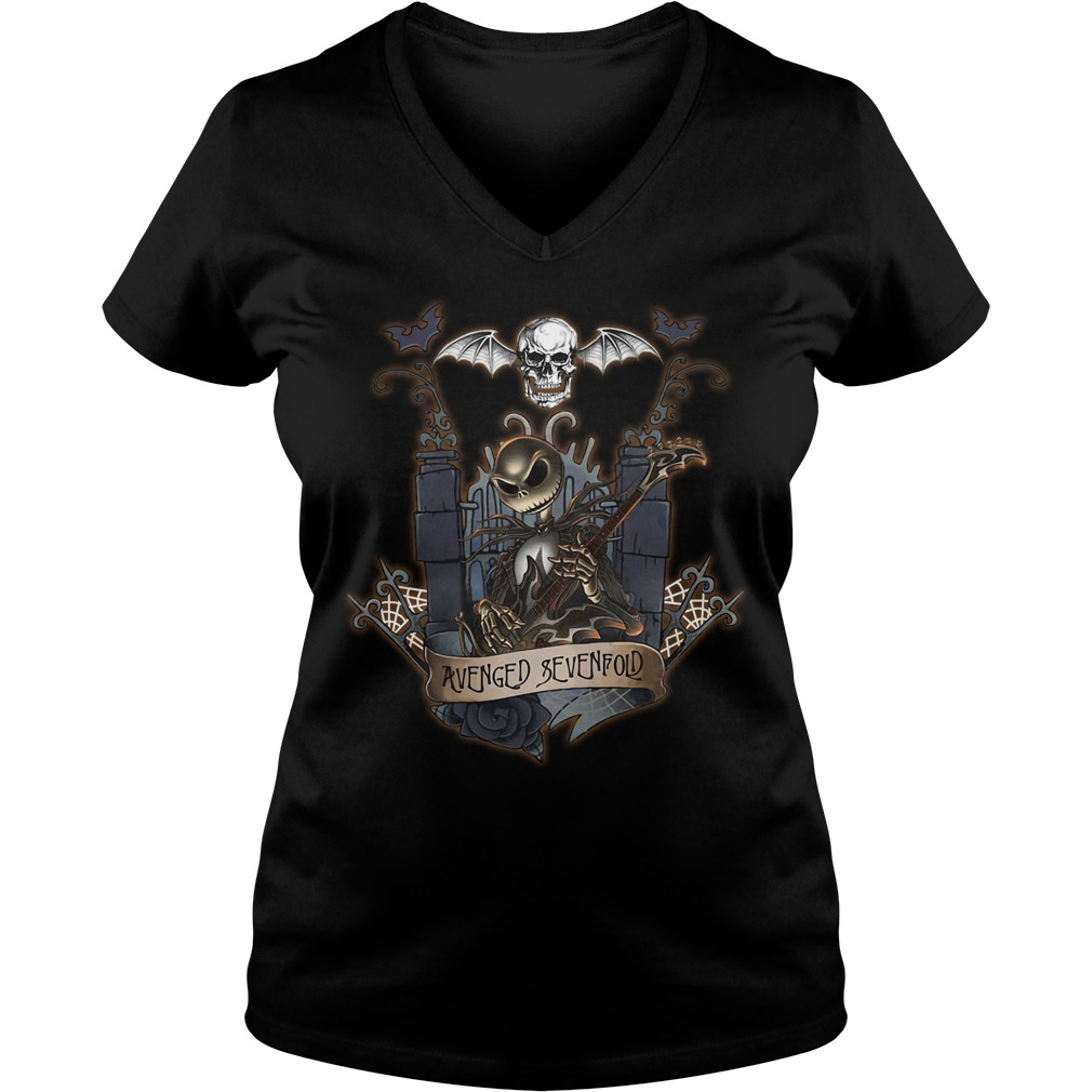 Halloween Jack Skellington Avenged Sevenfold V-neck T-shirt