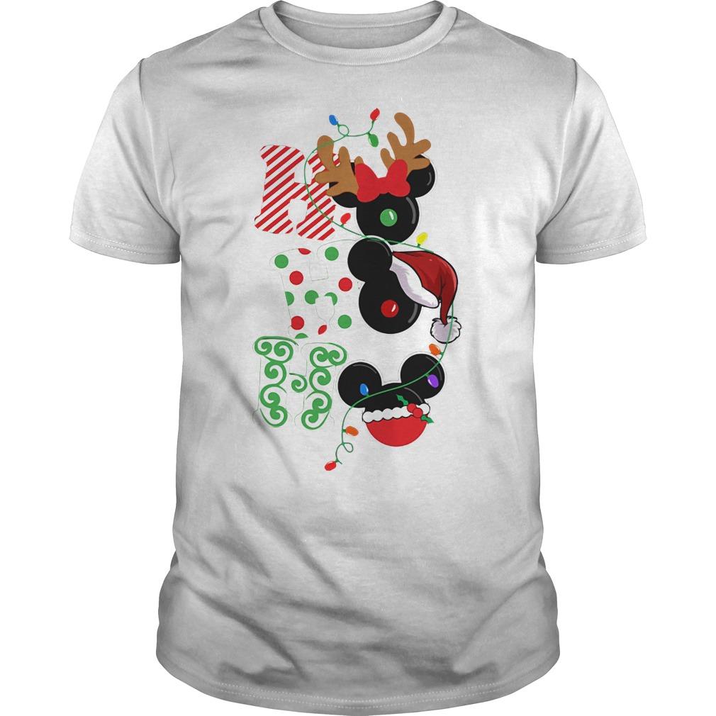 Ho Ho Ho Reindeer Santa and Mickey Christmas Guys Shirt