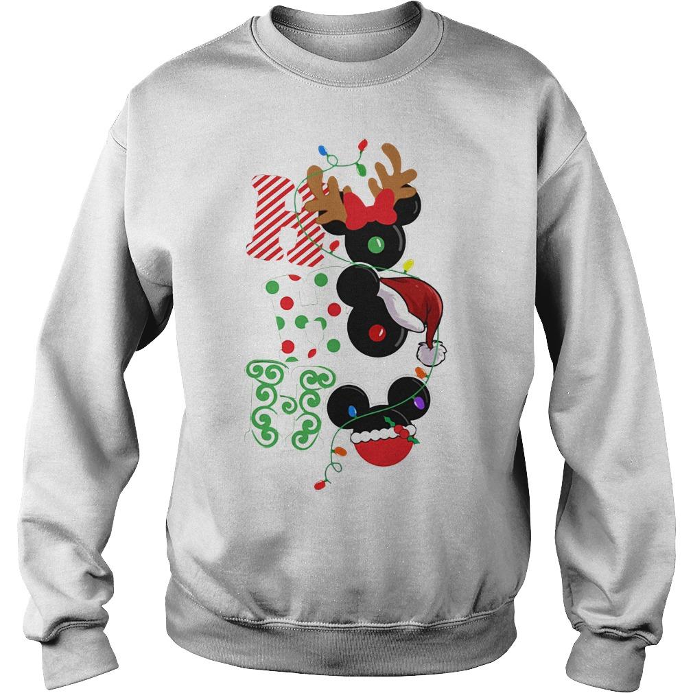 Ho Ho Ho Reindeer Santa and Mickey Christmas Sweater