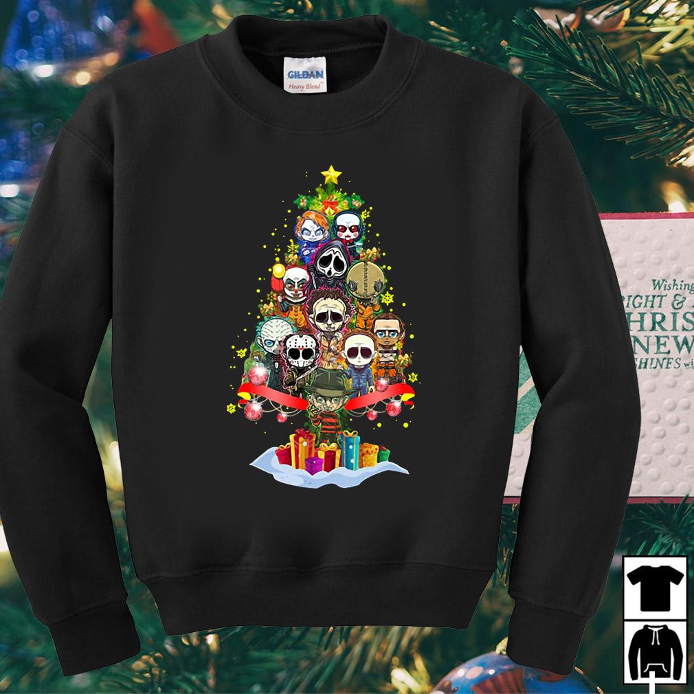 Horror characters chibi christmas tree sweater