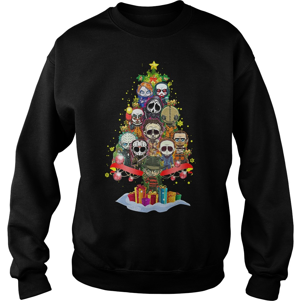 Horror characters chibi christmas tree Sweater