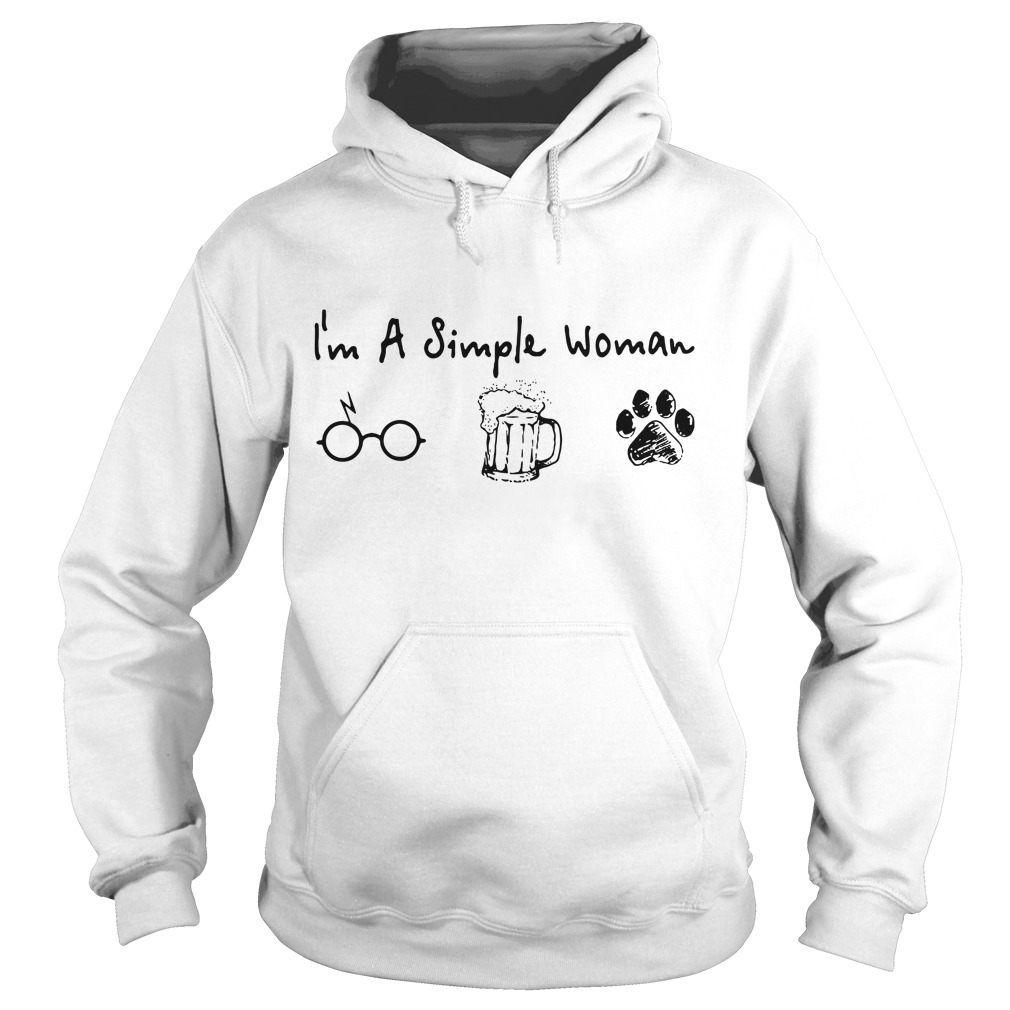 I'm a simple woman love Harry Potter beer and dog paw Hoodie