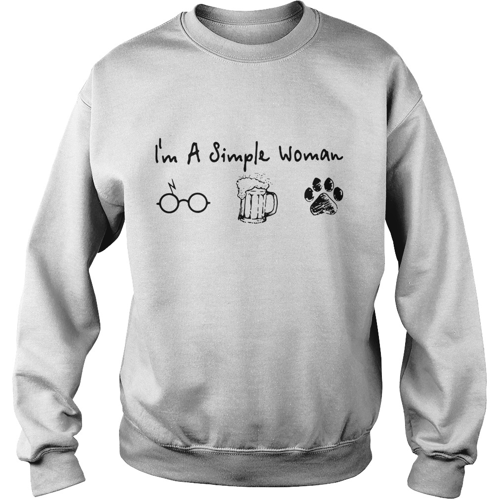 I'm a simple woman love Harry Potter beer and dog paw Sweater