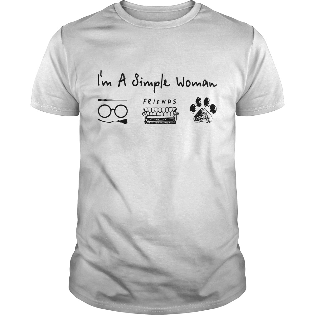 I'm a simple woman love Harry Potter friends and dog paw Guys Shirt