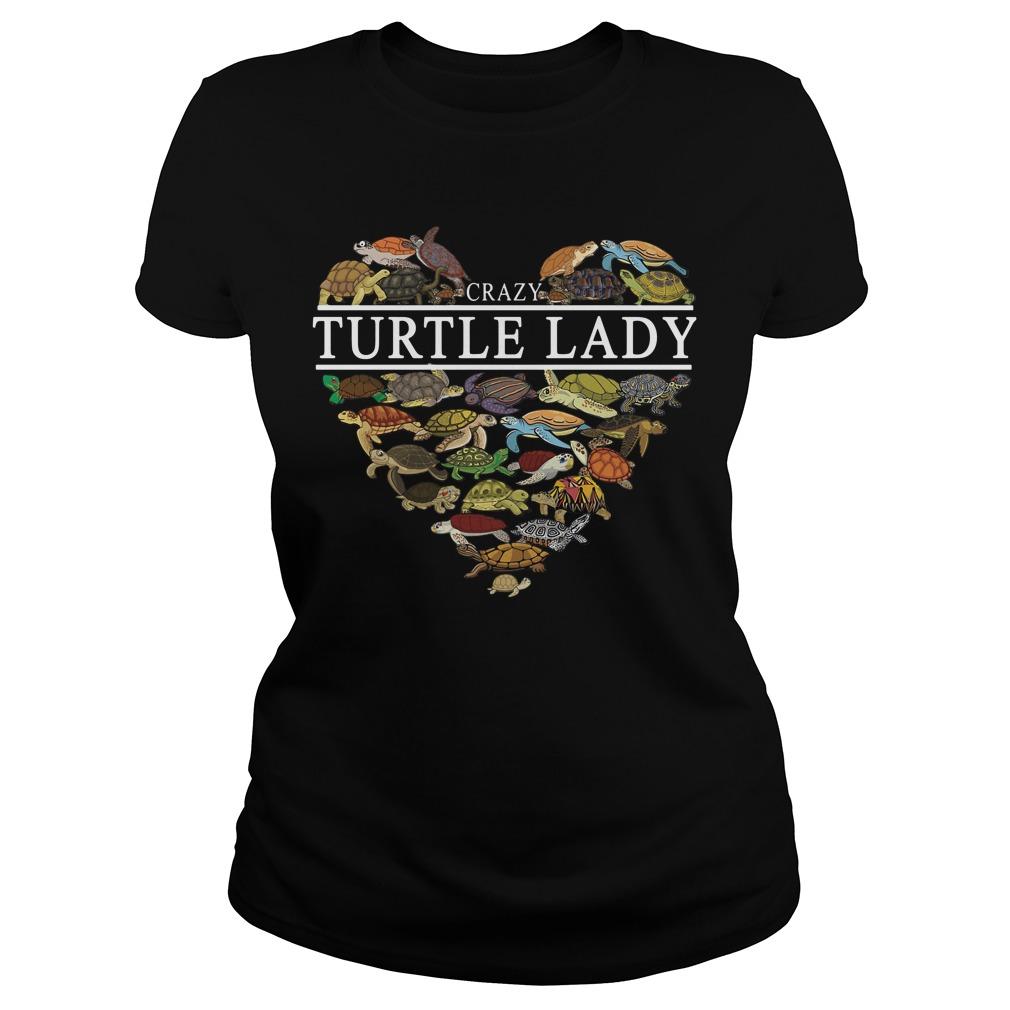 I love crazy Turtle lady aholic Ladies Tee