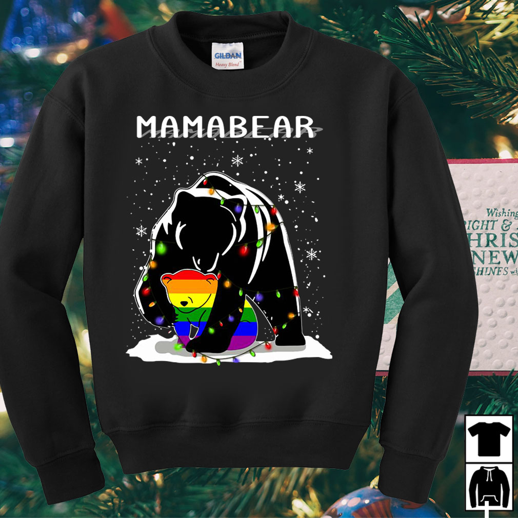 Mama Bear hugs LGBT son Christmas sweater