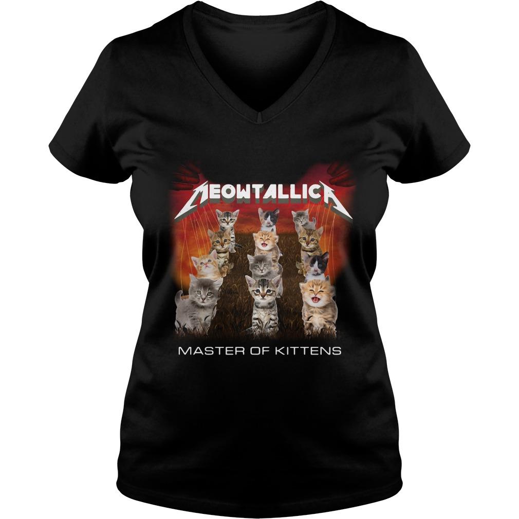 Meowtallic master of kittens V-neck T-shirt