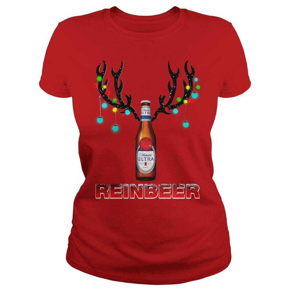 Michelob Ultra beer reinbeer Christmas Ladies Tee