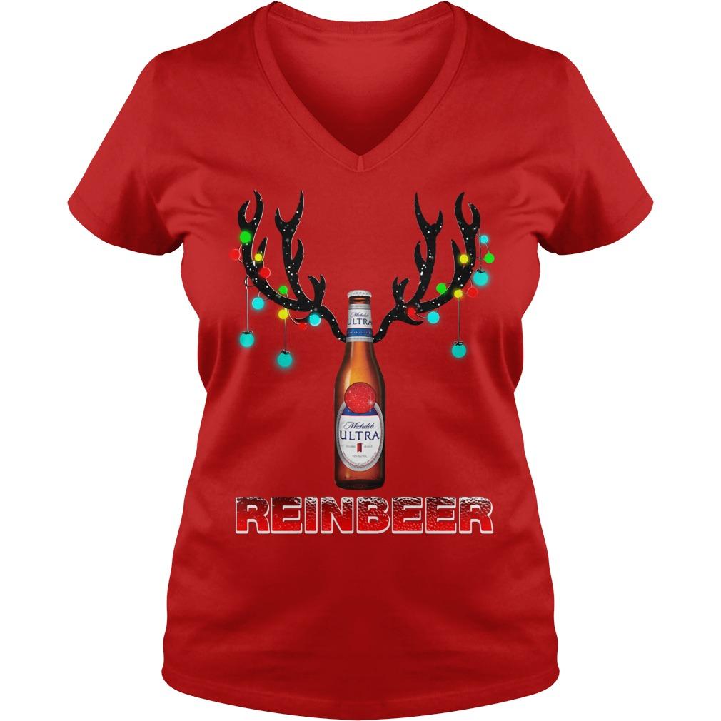 Michelob Ultra beer reinbeer Christmas V-neck T-shirt