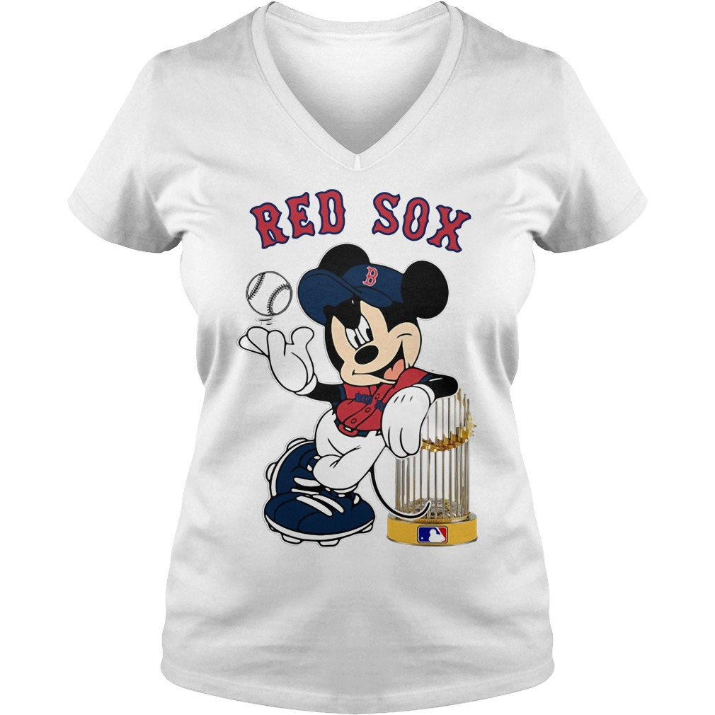 Mickey Boston Red Sox Taking The Trophy MLB 2018 V-neck t-shirt