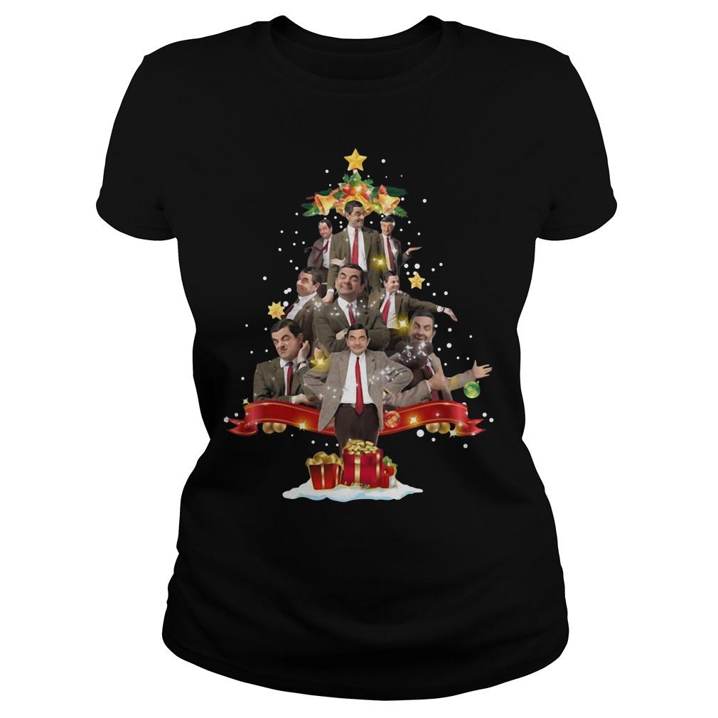 Mr Bean Christmas Tree Ladies Tee