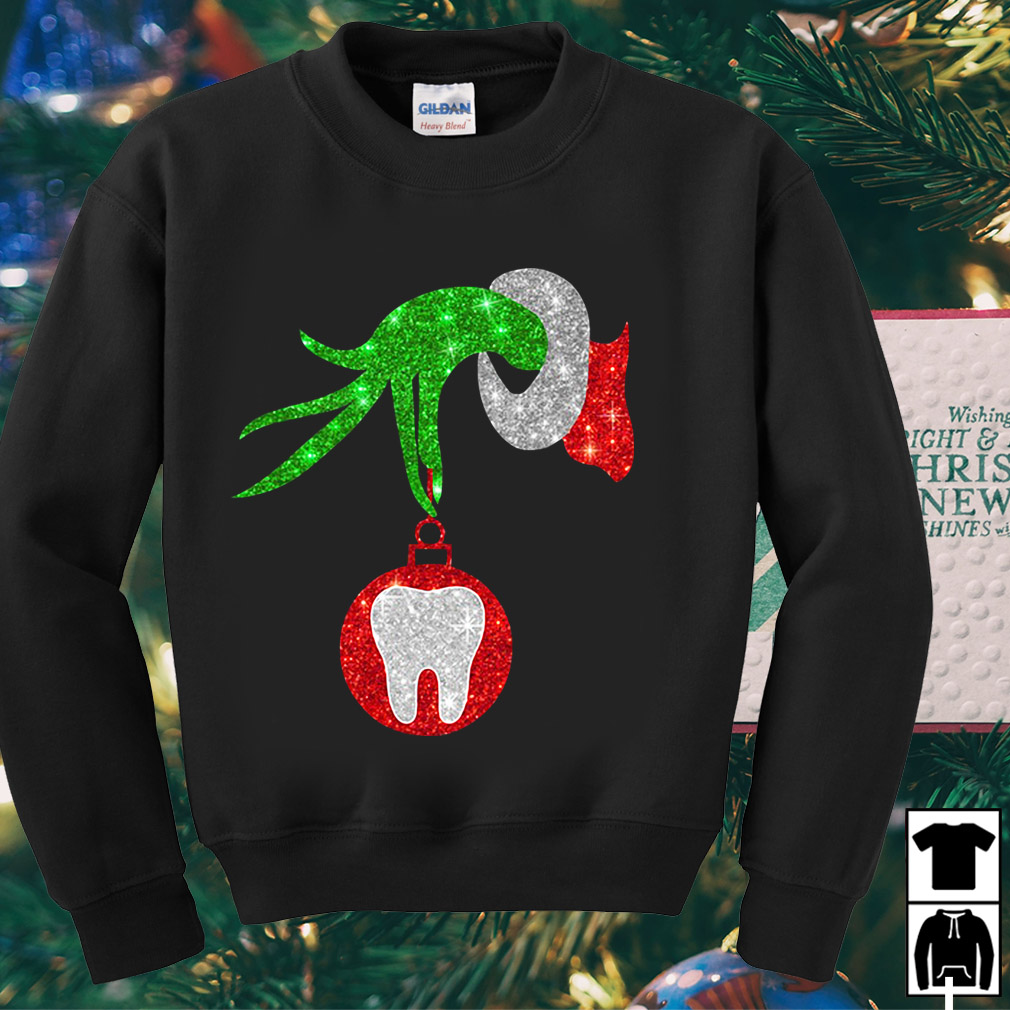 Nurse Grinch hand holding clinic dental Christmas sweater