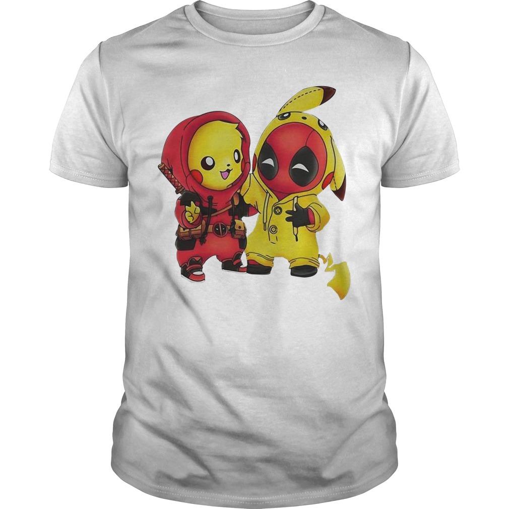 Pikapool Pikachu Pokemon and Deadpool Guys Shirt