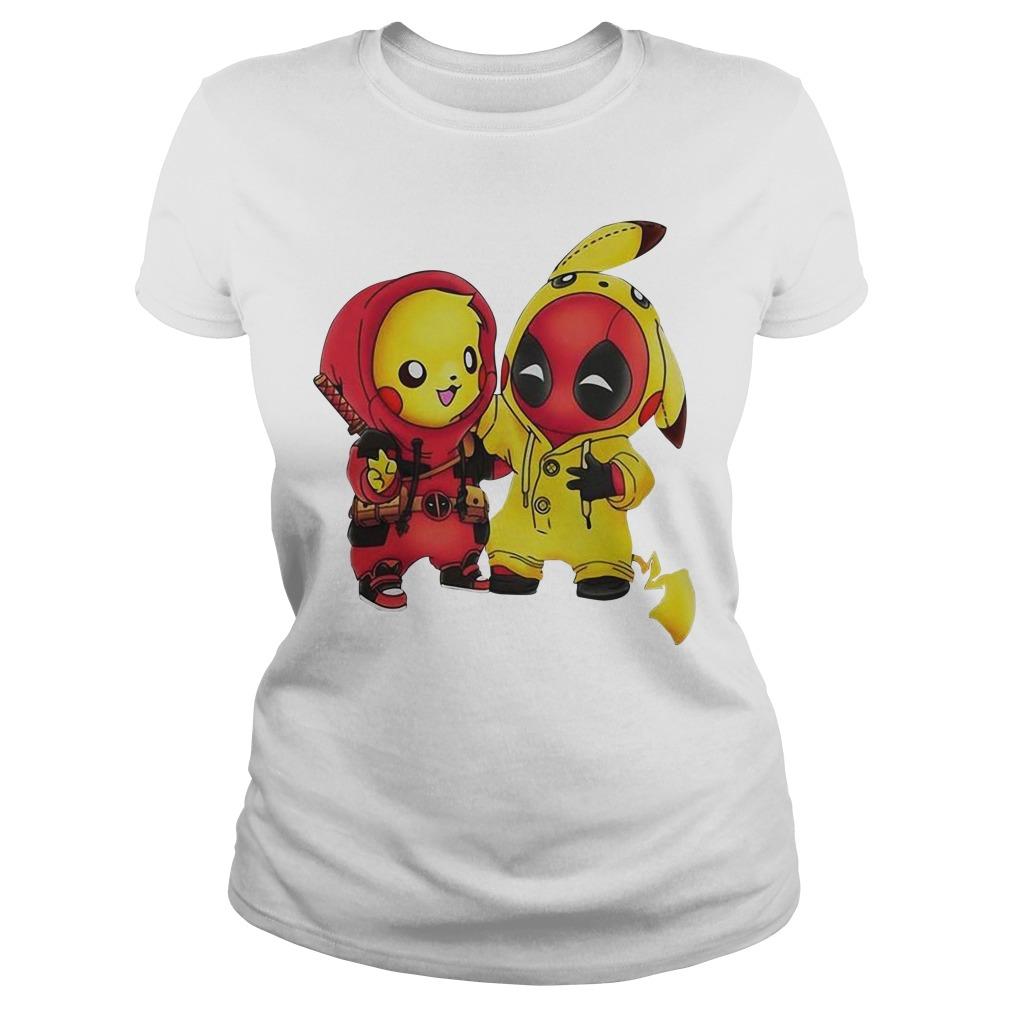 Pikapool Pikachu Pokemon and Deadpool Ladies Tee