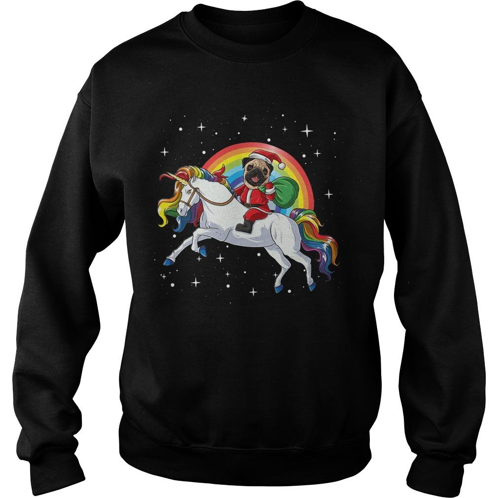 Rainbow Pug Santa riding Unicorn Christmas Sweater
