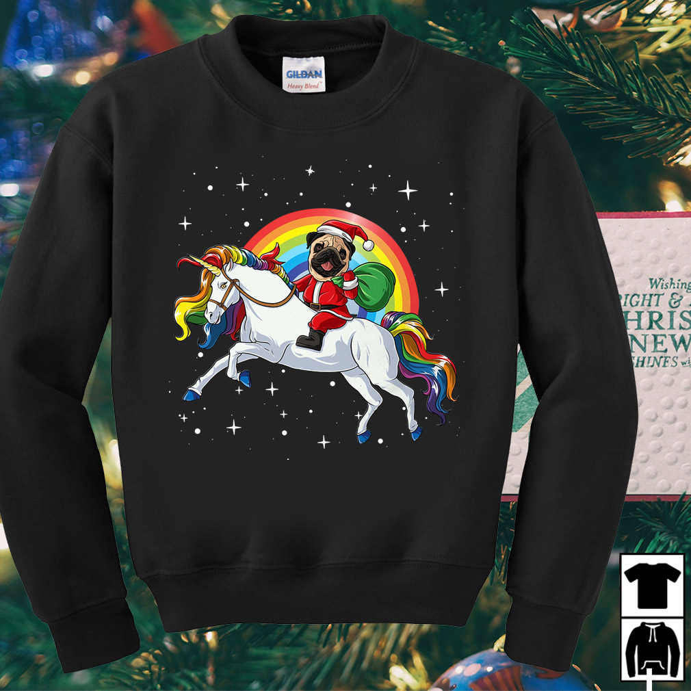 Rainbow Pug Santa riding Unicorn Christmas sweater